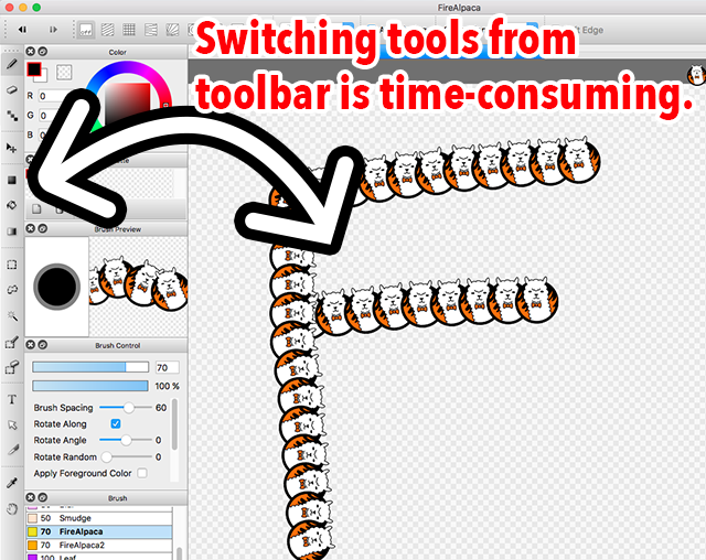 Diagram: Efficient work flow by switching tools with shortcut