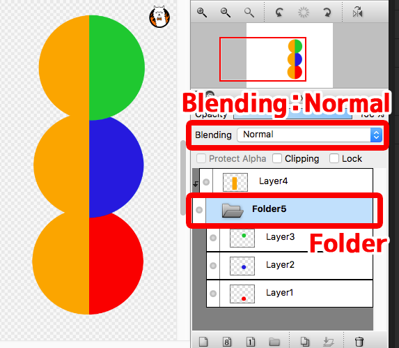Diagram: Enables clipping multiple layers at once by using Layer Folder