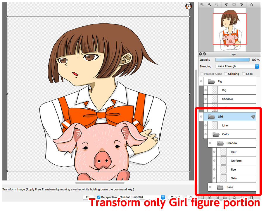 Diagram:Transform multiple layers with Layer Folder