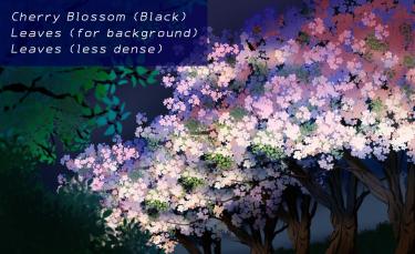 Brush : Cherry Blossom (Black), Leaves  (for background),Leaves (less dense)