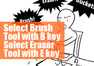 Select Brush Tool with B key Select Eraser Tool with E key