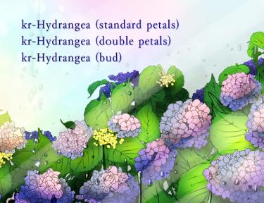 Brush :kr-Hydrangea (standard petals,double petals,bud)